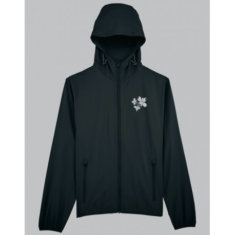BTX FLOWER LOGO black zipped RAINCOAT (Limited edition)