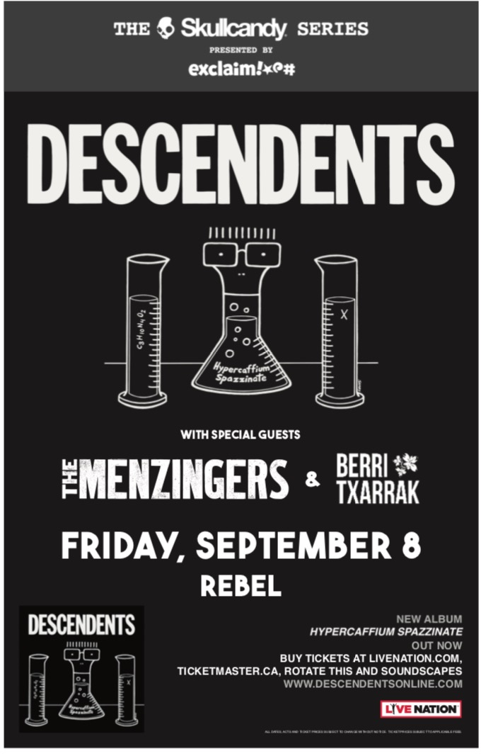 CONCIERTOS CON DESCENDENTS Y THE MENZINGERS EN NORTEAMÉRICA EN SETIEMBRE