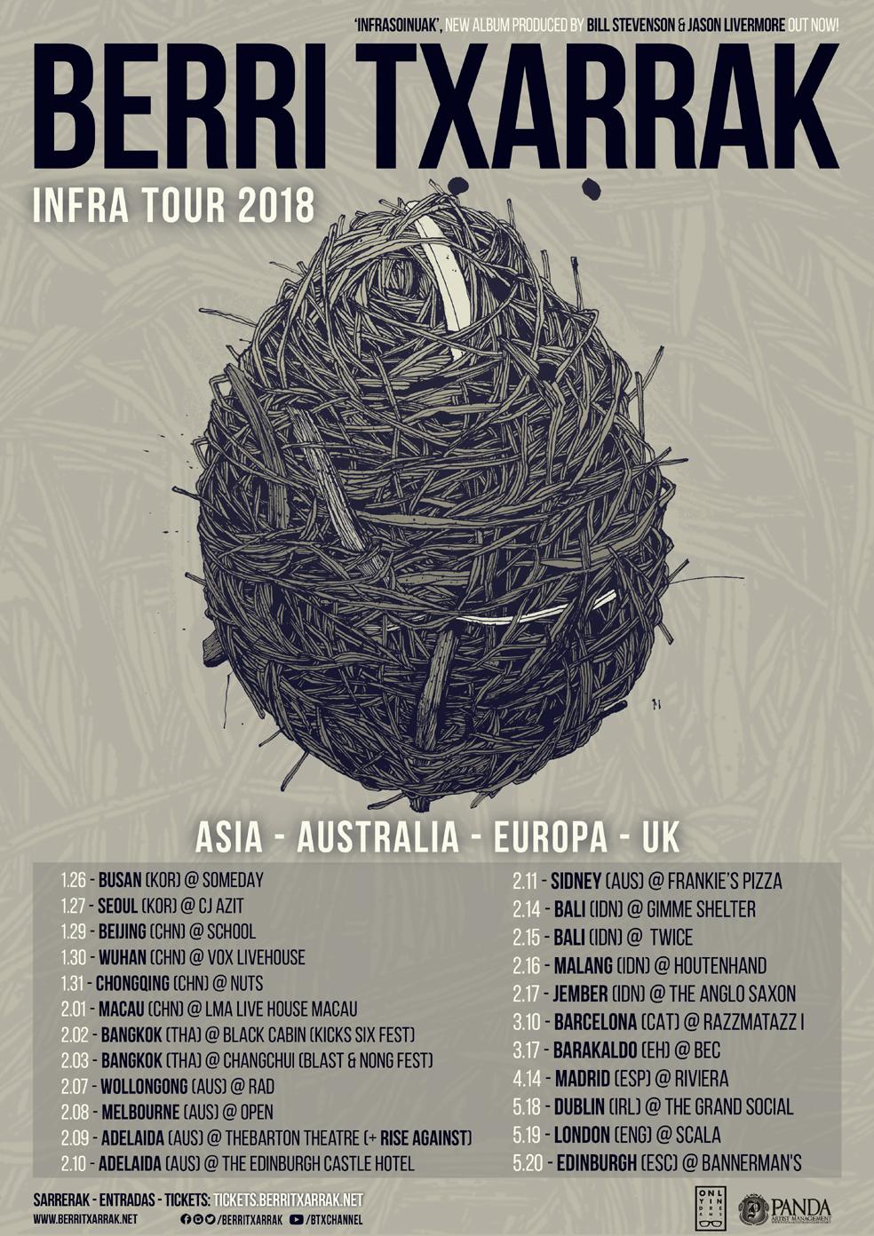 'INFRA TOUR 2018': ASIA / AUSTRALIA / EUROPA / UK