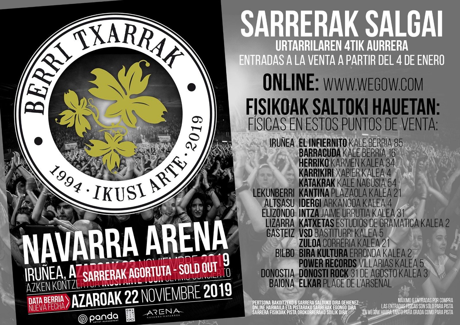 SECOND SHOW ADDED AT PAMPLONA's NAVARRA ARENA (Nov 22nd)